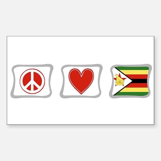 Peace Love and Zimbabwe Sticker (Rectangle)
