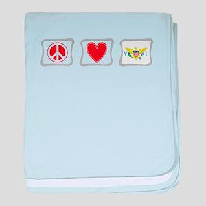 Peace Love & Virgin Islands baby blanket