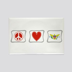 Peace Love & Virgin Islands Rectangle Magnet