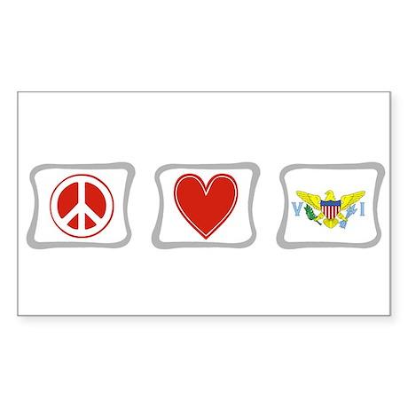 Peace Love & Virgin Islands Sticker (Rectangle)