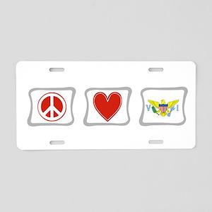 Peace Love & Virgin Islands Aluminum License Plate