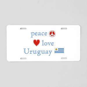 Peace Love and Uruguay Aluminum License Plate