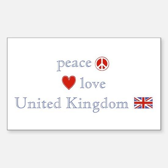 Peace Love & United Kingdom Sticker (Rectangle)