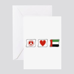 Peace Love and Emerates Greeting Card