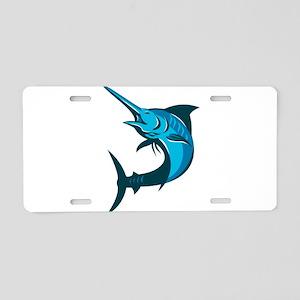 blue marlin fish jumping retro Aluminum License Pl