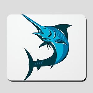 blue marlin fish jumping retro Mousepad