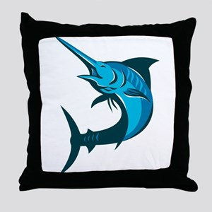 blue marlin fish jumping retro Throw Pillow