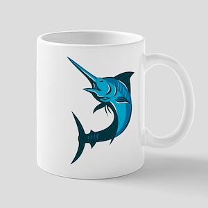 blue marlin fish jumping retro Mug