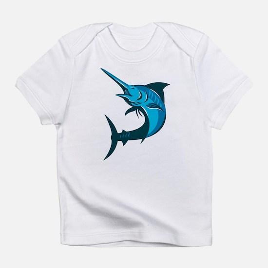 blue marlin fish jumping retro Infant T-Shirt