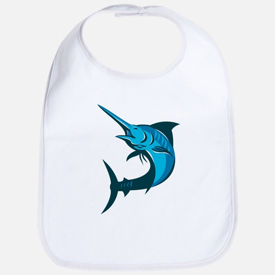 blue marlin fish jumping retro Bib