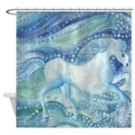 White Horses on the Sea Shower Curtain