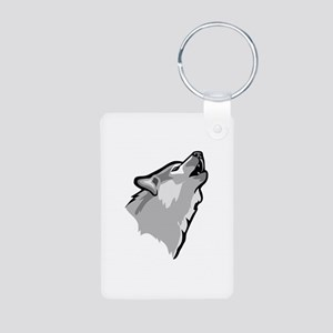 Wolf Aluminum Photo Keychain