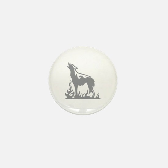 Wolf Flames Mini Button