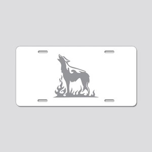 Wolf Flames Aluminum License Plate