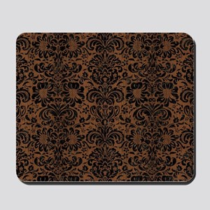 DAMASK2 BLACK MARBLE & BROWN WOOD (R) Mousepad