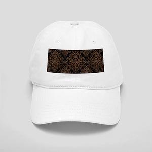 DAMASK1 BLACK MARBLE & BROWN WOOD Cap