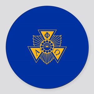 Alpha Phi Omega Crest and Letter Round Car Magnet
