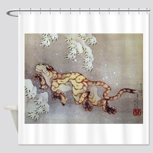 Hokusai Old Tiger In The Snow Shower Curtain