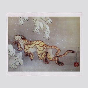 Hokusai Old Tiger In The Snow Throw Blanket