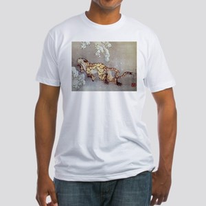 Hokusai Old Tiger In The Snow Fitted T-Shirt