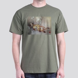 Hokusai Old Tiger In The Snow Dark T-Shirt