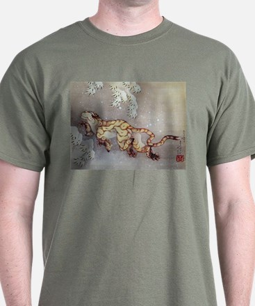 Hokusai Old Tiger In The Snow T-Shirt
