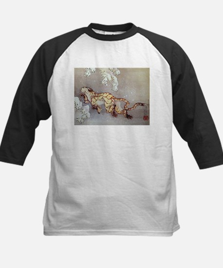 Hokusai Old Tiger In The Snow Kids Baseball Jersey