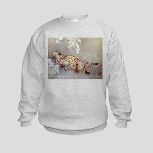 Hokusai Old Tiger In The Snow Kids Sweatshirt