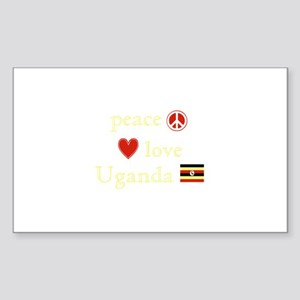 Peace, Love and Uganda Sticker (Rectangle)