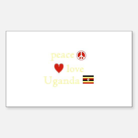 Peace, Love and Uganda Sticker (Rectangle)