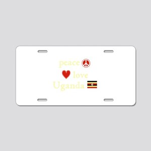 Peace, Love and Uganda Aluminum License Plate