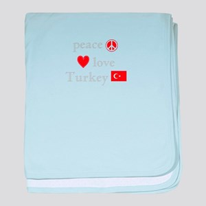 Peace, Love and Turkey baby blanket