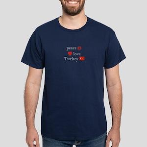 Peace, Love and Turkey Dark T-Shirt
