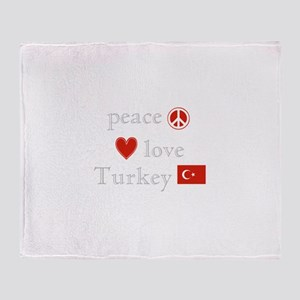 Peace, Love and Turkey Throw Blanket
