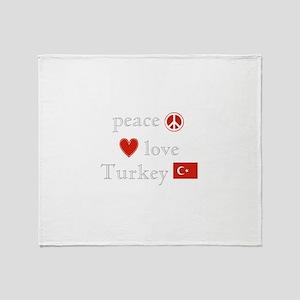 Peace, Love and Turkey Throw Blanket