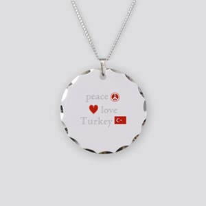 Peace, Love and Turkey Necklace Circle Charm