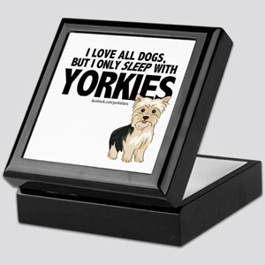 I Sleep with Yorkies Keepsake Box