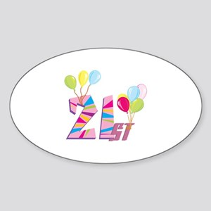 21st Celebration Sticker (Oval)