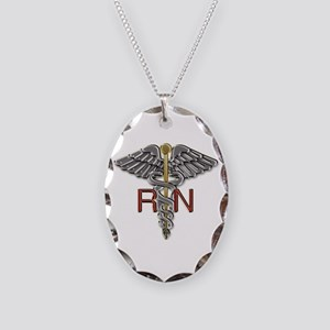 RN Medical Symbol Necklace Oval Charm