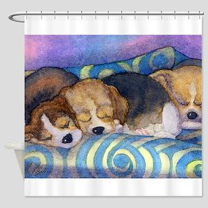 Beagle puppies asleep on the sofa Shower Curtain
