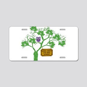 Cancer Doesn't Live Tree Owl Aluminum License Plat