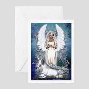 Angel Greetings Card - Angel and Unicorn