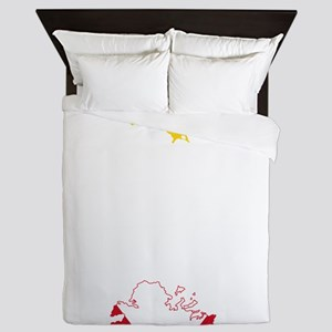 Antigua and Barbuda Flag and Map Queen Duvet