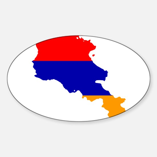 Armenia Flag and Map Sticker (Oval)