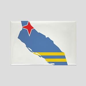 Aruba Flag and Map Rectangle Magnet