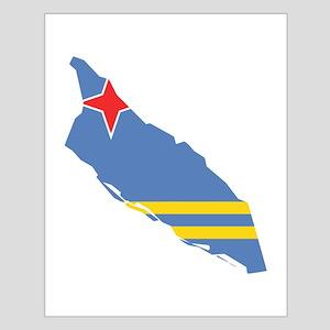 Aruba Flag and Map Small Poster
