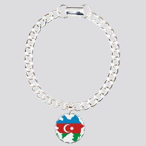 Azerbaijan Flag and Map Charm Bracelet, One Charm