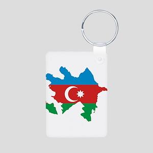 Azerbaijan Flag and Map Aluminum Photo Keychain