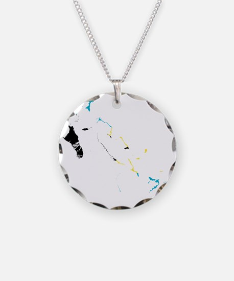 Bahamas Flag and Map Necklace