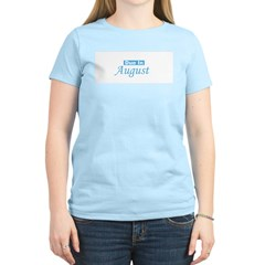 Due In August - blue Women's Pink T-Shirt